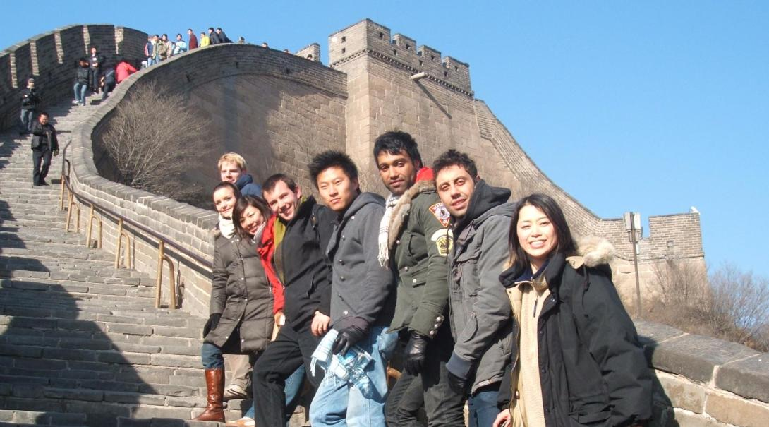 Projects Abroad volunteers explore the Great Wall of China during their free time.